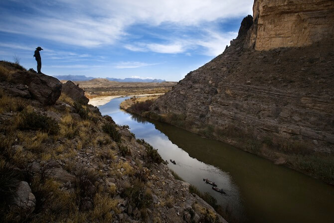 Big Bend National Park, Texas, USA - Cowboy by river