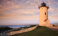 Light House against the sunset in Cape Cod, Massachusetts. New England, America.