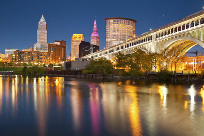 Cleveland Ohio, Skyline on the river, American Road Trip