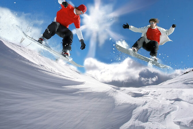 Colorado I-70 Ski Resorts, USA - Snow Boarders in Beaver Creek