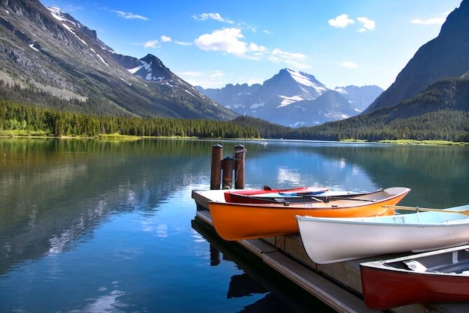 Glacier National Park, Montana, USA - Canoes by lake