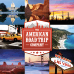 American road trip compilation with logo