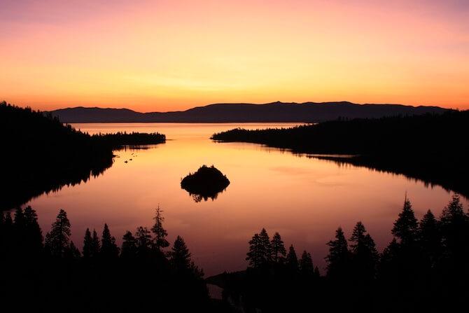 Lake Tahoe - Emerald Bay after sunset, South Lake Tahoe, California, USA