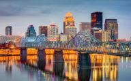 Louisville, Kentucky skyline reflecting on water