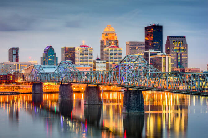 Louisville, Kentucky, USA skyline on the river Road Trip