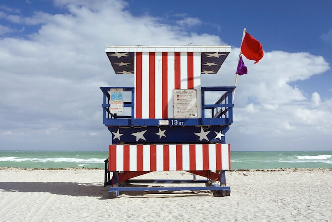 Miami Beach, Florida, USA - Life guard hut in Stars and Stripes