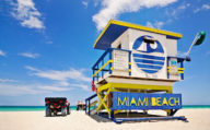 Colourful Lifeguard hut on Miami Beach, Florida, Southern Road Trip