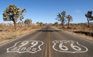 Route 66 road signs in the Mojave Desert, California