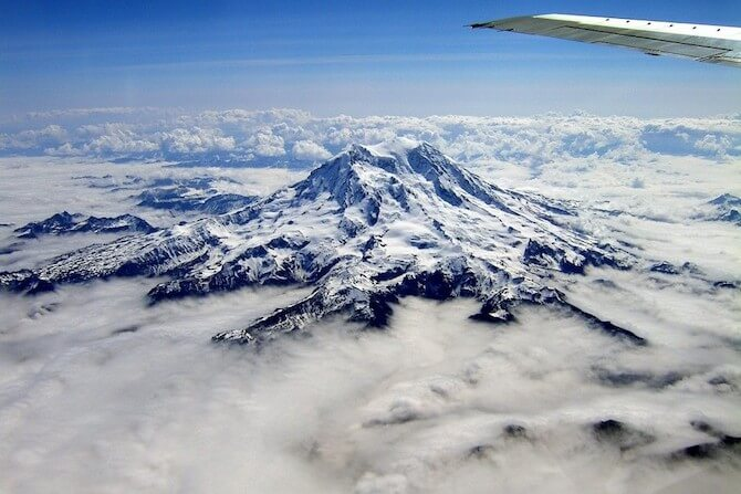 Mount Rainer National Park, Washington, USA - View from plane