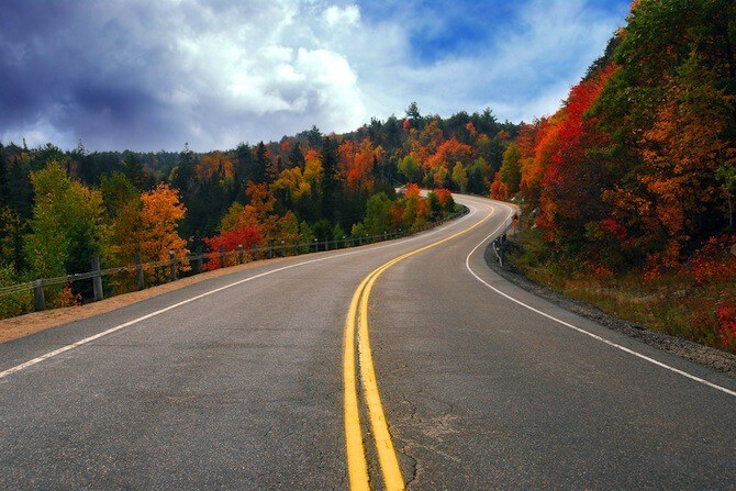 New England, USA - Autumn trees and curving road