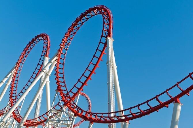 Orlando, Florida, USA - Loops of a Roller Coaster