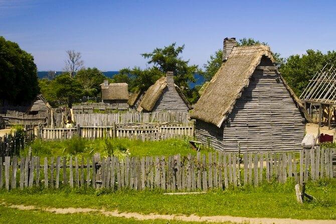 Plymouth Plantation, Massachusetts, USA - Pilgrim Huts