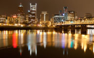 Skyline reflections from Portland, Oregon USA