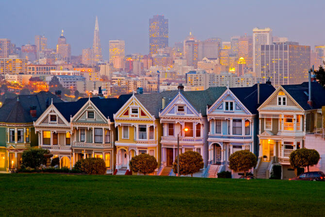 San Francisco's Pained Ladies at night
