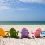 Sanibel - Beach chairs on Sanibel Island, Florida, USA