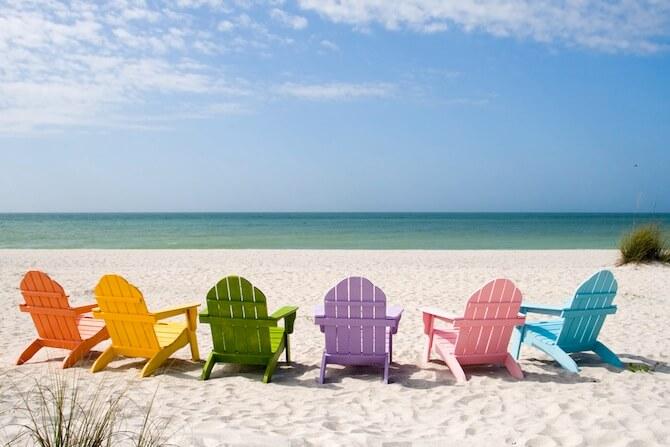 Sanibel - Beach chairs on Sanibel Island, Florida, USA