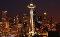 Seattle, Washington, USA - Skyline including Space Needle at night
