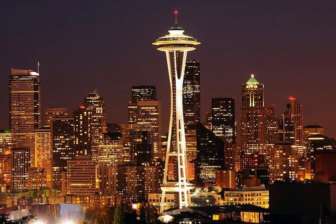 Seattle, Washington, USA - Skyline including Space Needle at night