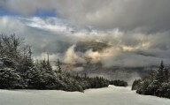 Stormy clouds over ski slopes in Stowe
