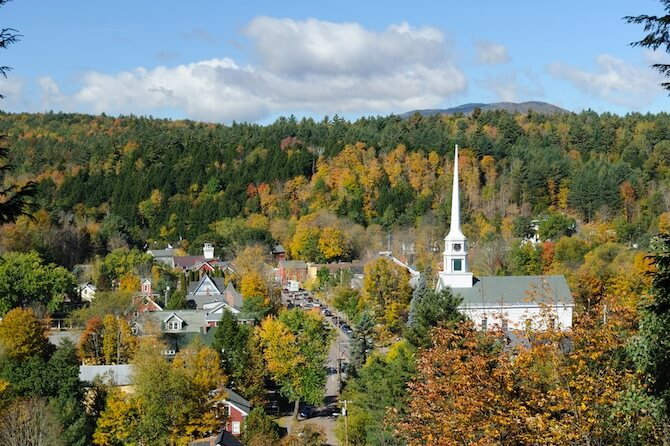 Stowe, Vermont - Church in Autumn