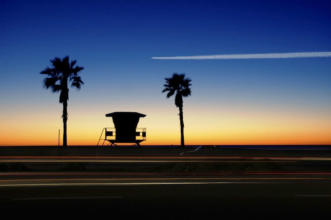 Venice Beach, Los Angeles, California - Lifeguard hut at sunset