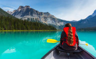Canoeing on Emerald Lake in Yoho NP Canada