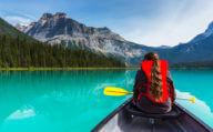 Canoeing on Emerald Lake in Yoho NP Canada