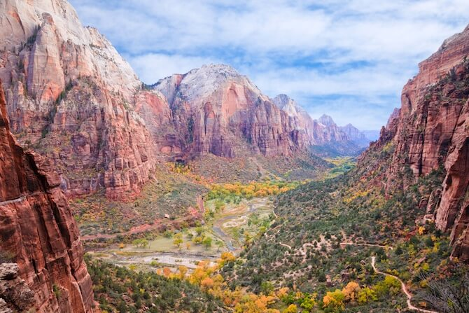 Zion National Park, Utah Overview of Zion Valley